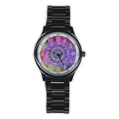 Flower Of Life Indian Ornaments Mandala Universe Stainless Steel Round Watch by EDDArt