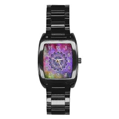 Flower Of Life Indian Ornaments Mandala Universe Stainless Steel Barrel Watch by EDDArt