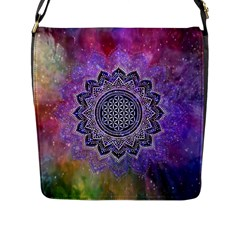 Flower Of Life Indian Ornaments Mandala Universe Flap Messenger Bag (l)  by EDDArt