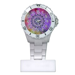 Flower Of Life Indian Ornaments Mandala Universe Plastic Nurses Watch by EDDArt