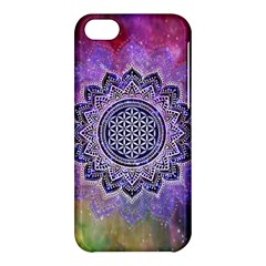 Flower Of Life Indian Ornaments Mandala Universe Apple Iphone 5c Hardshell Case by EDDArt