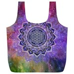 Flower Of Life Indian Ornaments Mandala Universe Full Print Recycle Bags (L)