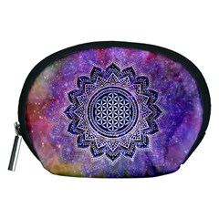 Flower Of Life Indian Ornaments Mandala Universe Accessory Pouches (medium)  by EDDArt