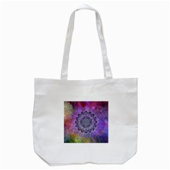 Flower Of Life Indian Ornaments Mandala Universe Tote Bag (white) by EDDArt