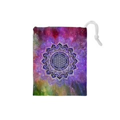 Flower Of Life Indian Ornaments Mandala Universe Drawstring Pouches (small)  by EDDArt