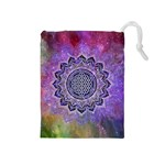 Flower Of Life Indian Ornaments Mandala Universe Drawstring Pouches (Medium)