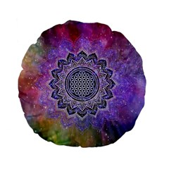 Flower Of Life Indian Ornaments Mandala Universe Standard 15  Premium Flano Round Cushions by EDDArt