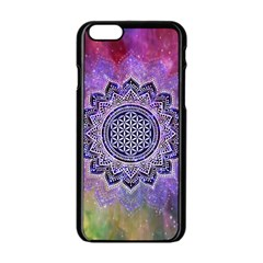 Flower Of Life Indian Ornaments Mandala Universe Apple Iphone 6/6s Black Enamel Case by EDDArt