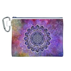 Flower Of Life Indian Ornaments Mandala Universe Canvas Cosmetic Bag (l) by EDDArt