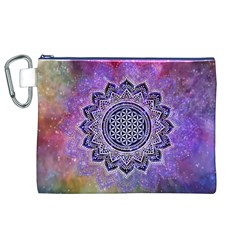 Flower Of Life Indian Ornaments Mandala Universe Canvas Cosmetic Bag (xl) by EDDArt