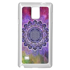 Flower Of Life Indian Ornaments Mandala Universe Samsung Galaxy Note 4 Case (white) by EDDArt