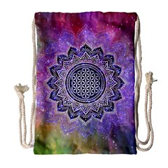 Flower Of Life Indian Ornaments Mandala Universe Drawstring Bag (large) by EDDArt
