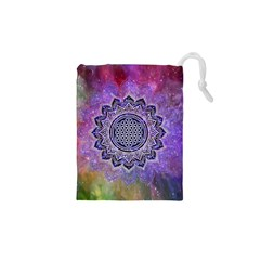 Flower Of Life Indian Ornaments Mandala Universe Drawstring Pouches (xs)  by EDDArt
