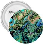 Fractal Batik Art Teal Turquoise Salmon 3  Buttons