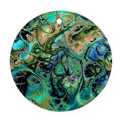 Fractal Batik Art Teal Turquoise Salmon Ornament (round)  by EDDArt
