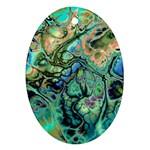 Fractal Batik Art Teal Turquoise Salmon Ornament (Oval)