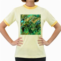 Fractal Batik Art Teal Turquoise Salmon Women s Fitted Ringer T Shirts by EDDArt