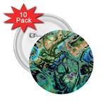Fractal Batik Art Teal Turquoise Salmon 2.25  Buttons (10 pack)