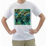 Fractal Batik Art Teal Turquoise Salmon Men s T-Shirt (White) (Two Sided)
