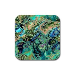 Fractal Batik Art Teal Turquoise Salmon Rubber Square Coaster (4 Pack)  by EDDArt