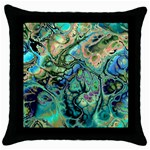 Fractal Batik Art Teal Turquoise Salmon Throw Pillow Case (Black)