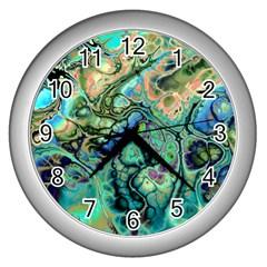 Fractal Batik Art Teal Turquoise Salmon Wall Clocks (silver)  by EDDArt