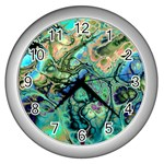 Fractal Batik Art Teal Turquoise Salmon Wall Clocks (Silver)