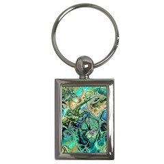Fractal Batik Art Teal Turquoise Salmon Key Chains (rectangle)  by EDDArt