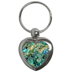Fractal Batik Art Teal Turquoise Salmon Key Chains (heart)  by EDDArt