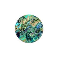 Fractal Batik Art Teal Turquoise Salmon Golf Ball Marker (4 Pack) by EDDArt