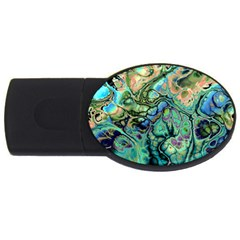 Fractal Batik Art Teal Turquoise Salmon Usb Flash Drive Oval (2 Gb)  by EDDArt