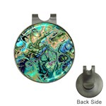 Fractal Batik Art Teal Turquoise Salmon Hat Clips with Golf Markers