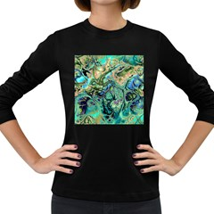 Fractal Batik Art Teal Turquoise Salmon Women s Long Sleeve Dark T Shirts by EDDArt