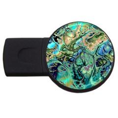 Fractal Batik Art Teal Turquoise Salmon Usb Flash Drive Round (4 Gb)  by EDDArt