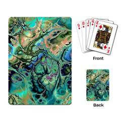 Fractal Batik Art Teal Turquoise Salmon Playing Card by EDDArt