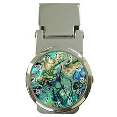 Fractal Batik Art Teal Turquoise Salmon Money Clip Watches by EDDArt