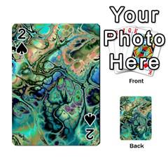 Fractal Batik Art Teal Turquoise Salmon Playing Cards 54 Designs  by EDDArt