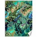 Fractal Batik Art Teal Turquoise Salmon Canvas 36  x 48