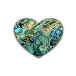 Fractal Batik Art Teal Turquoise Salmon Heart Coaster (4 pack)