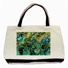Fractal Batik Art Teal Turquoise Salmon Basic Tote Bag (two Sides) by EDDArt
