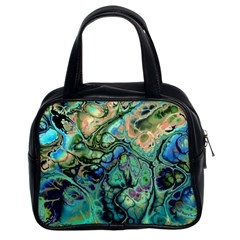 Fractal Batik Art Teal Turquoise Salmon Classic Handbags (2 Sides) by EDDArt
