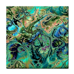 Fractal Batik Art Teal Turquoise Salmon Face Towel by EDDArt