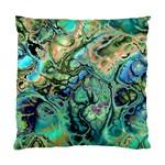 Fractal Batik Art Teal Turquoise Salmon Standard Cushion Case (Two Sides)