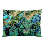 Fractal Batik Art Teal Turquoise Salmon Pillow Case