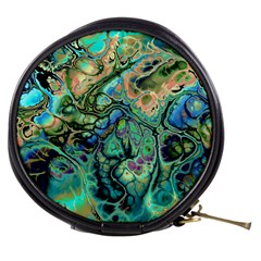 Fractal Batik Art Teal Turquoise Salmon Mini Makeup Bags by EDDArt