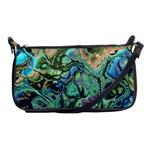 Fractal Batik Art Teal Turquoise Salmon Shoulder Clutch Bags