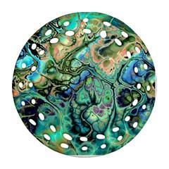 Fractal Batik Art Teal Turquoise Salmon Ornament (round Filigree)  by EDDArt