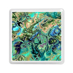 Fractal Batik Art Teal Turquoise Salmon Memory Card Reader (square)  by EDDArt