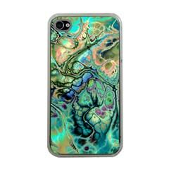 Fractal Batik Art Teal Turquoise Salmon Apple Iphone 4 Case (clear) by EDDArt