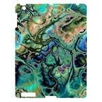Fractal Batik Art Teal Turquoise Salmon Apple iPad 3/4 Hardshell Case